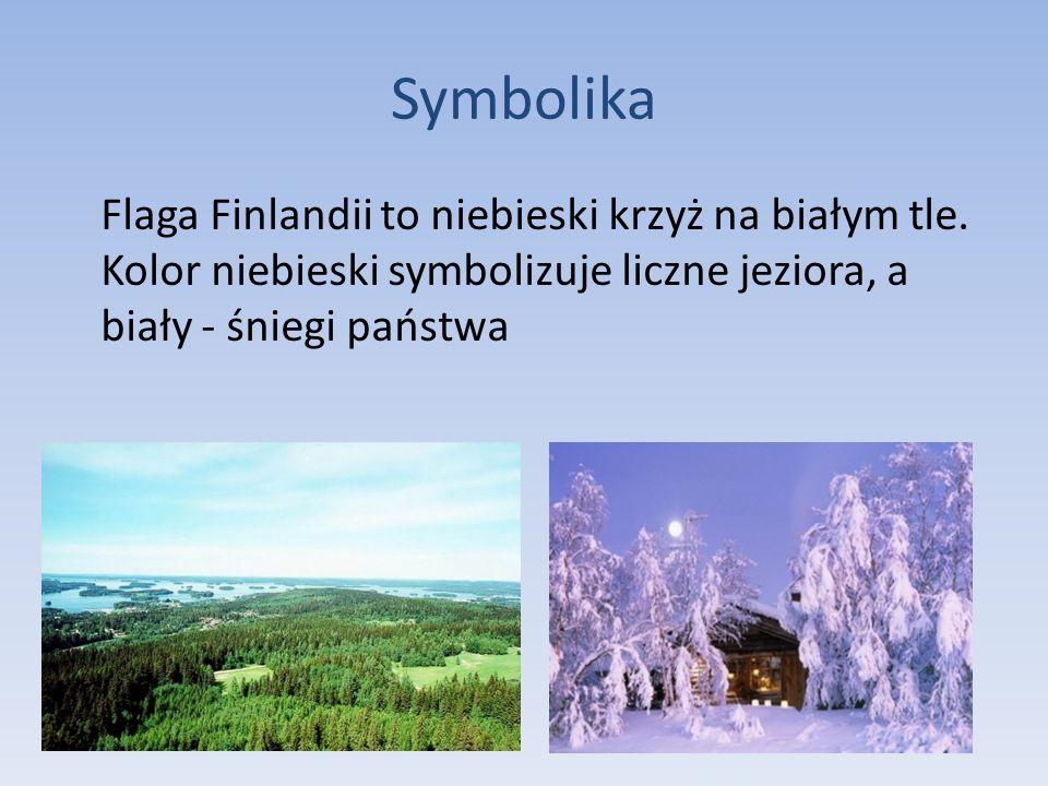 SymbolikaFlaga Finlandii to niebieski krzyż na białym tle.