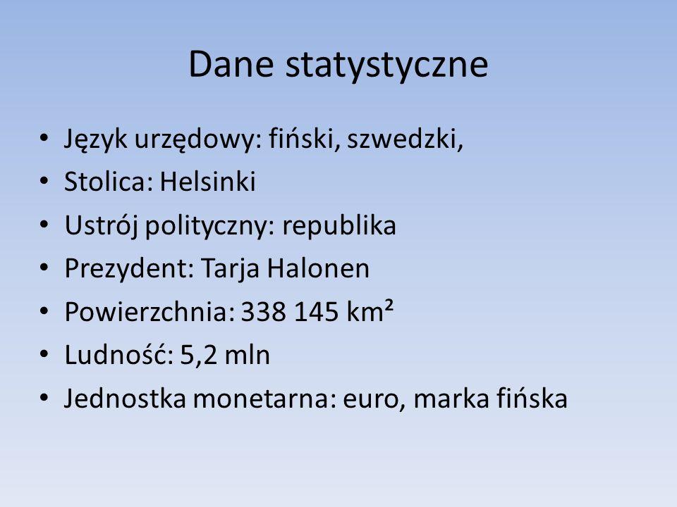 Dane statystyczne Język urzędowy: fiński, szwedzki, Stolica: Helsinki