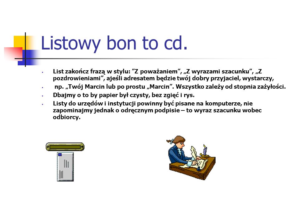 Listowy bon to cd.