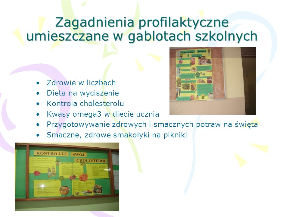 Zagadnienia profilaktyczne umieszczane w gablotach szkolnych