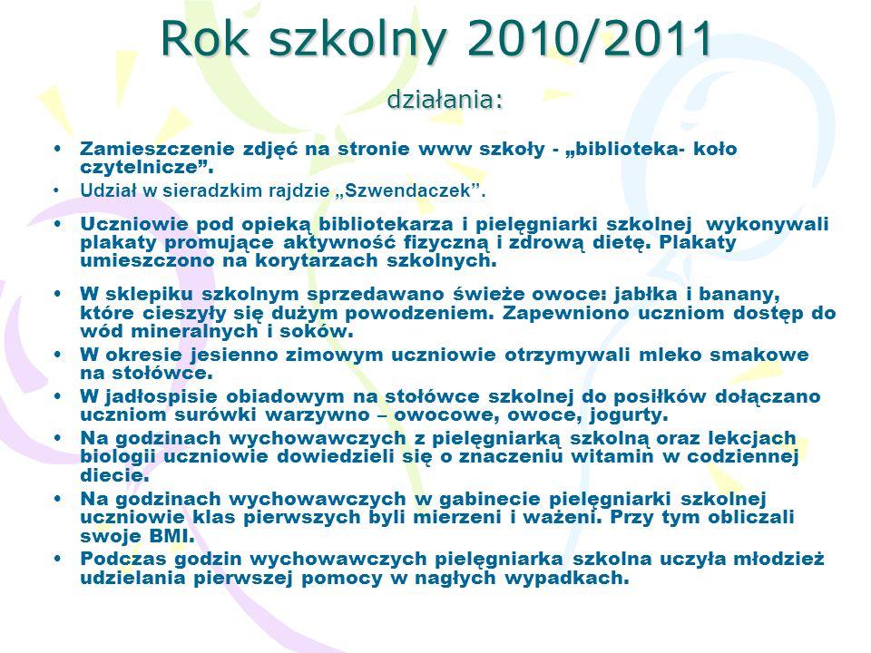 Rok szkolny 2010/2011 działania: