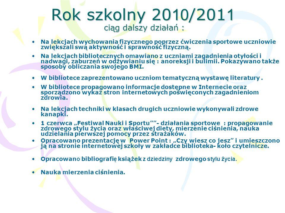 Rok szkolny 2010/2011 ciąg dalszy działań :