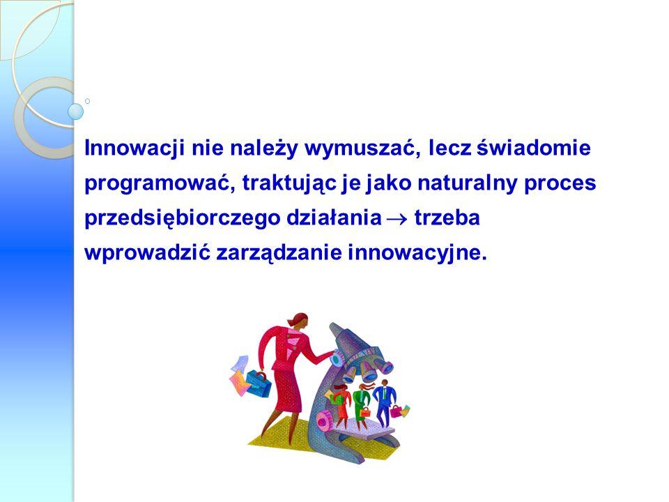 Innowacji nie należy wymuszać, lecz świadomie programować, traktując je jako naturalny proces przedsiębiorczego działania  trzeba wprowadzić zarządzanie innowacyjne.
