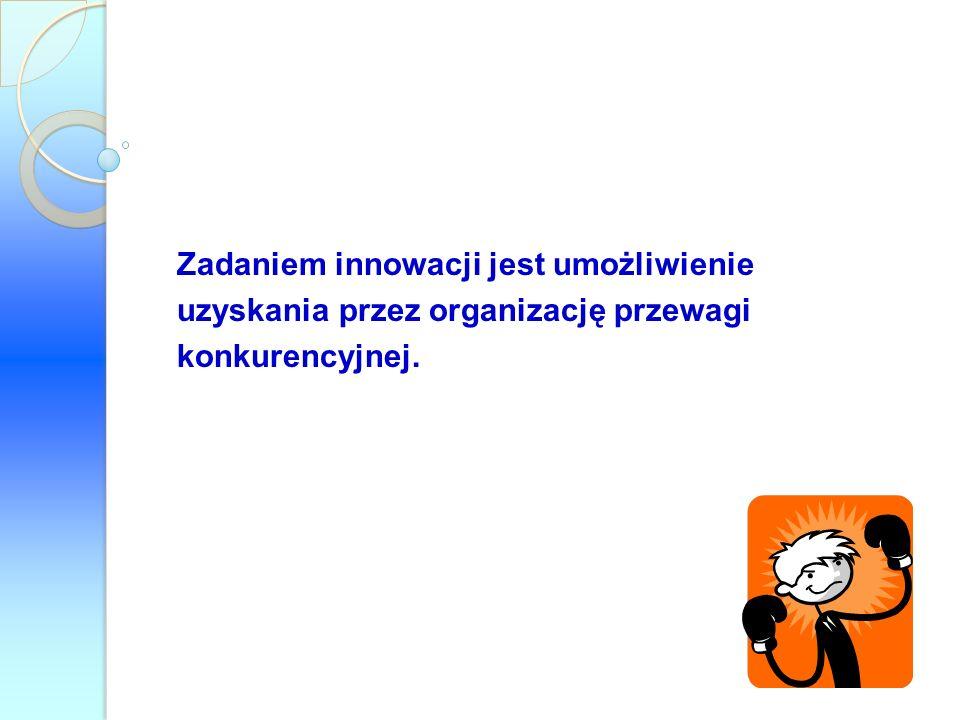 Zadaniem innowacji jest umożliwienie uzyskania przez organizację przewagi konkurencyjnej.