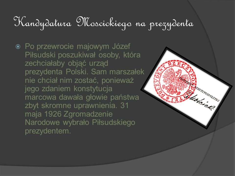 Kandydatura Moscickiego na prezydenta