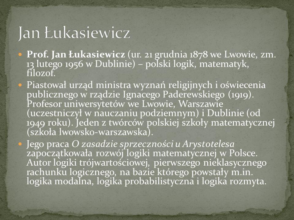 Jan Łukasiewicz Prof. Jan Łukasiewicz (ur. 21 grudnia 1878 we Lwowie, zm. 13 lutego 1956 w Dublinie) – polski logik, matematyk, filozof.