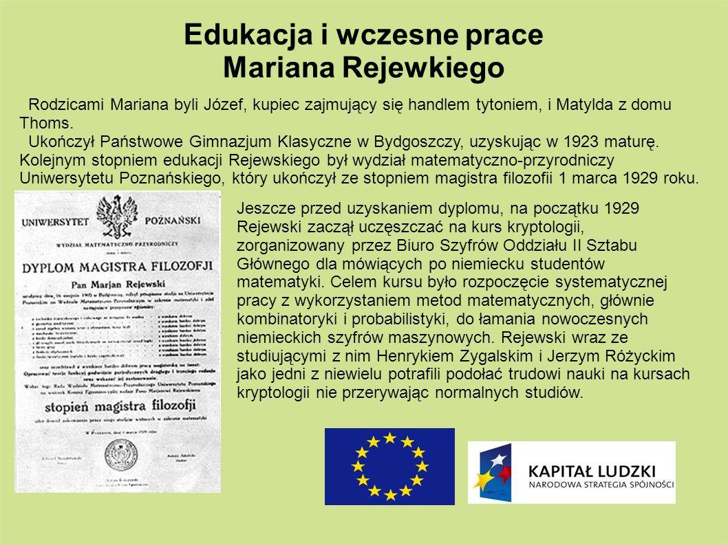 Edukacja i wczesne prace Mariana Rejewkiego