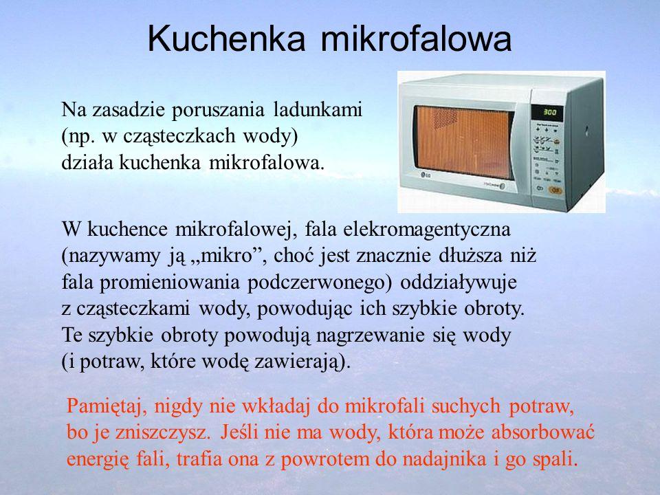 Kuchenka mikrofalowa Na zasadzie poruszania ladunkami (np. w cząsteczkach wody) działa kuchenka mikrofalowa.