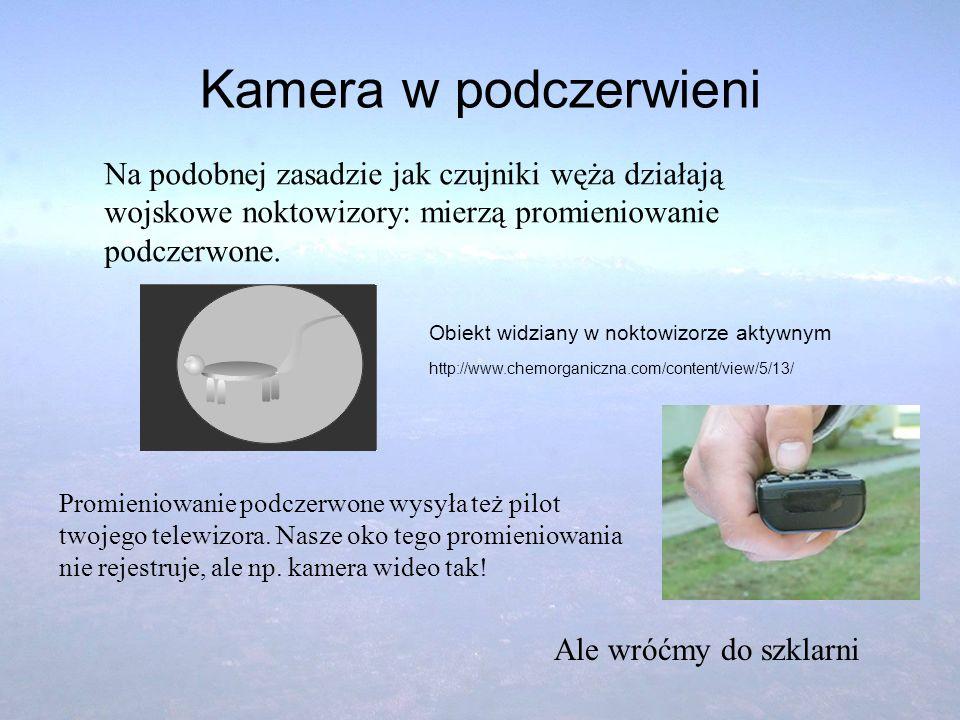 Kamera w podczerwieni Na podobnej zasadzie jak czujniki węża działają