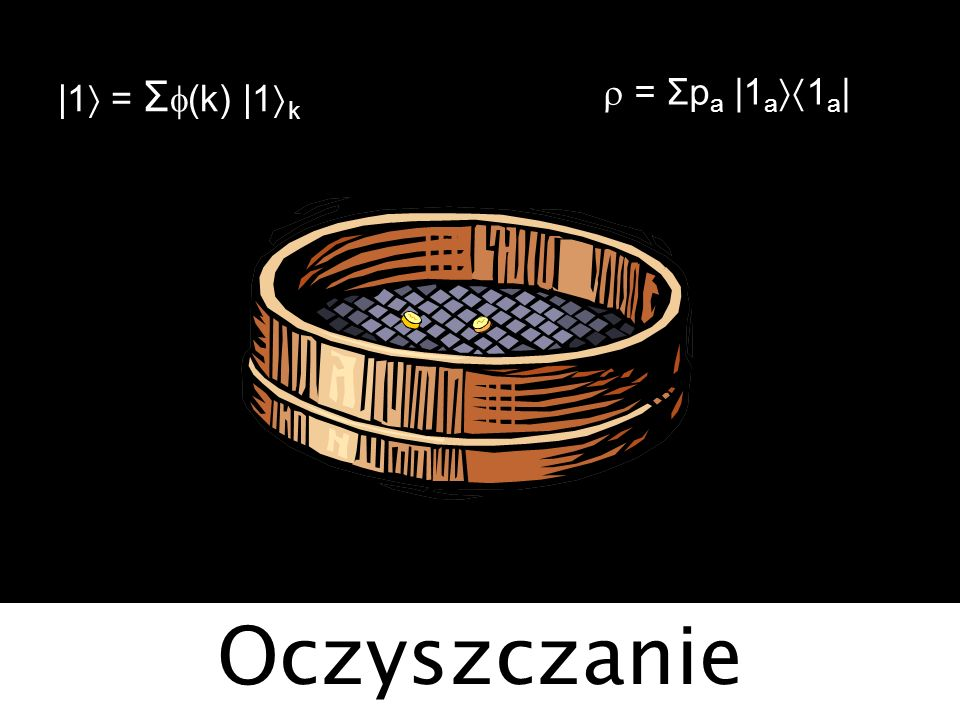 |1 = Σf(k) |1k r = Σpa |1a1a| Oczyszczanie