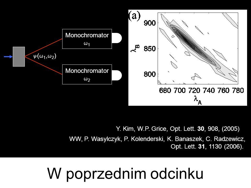 W poprzednim odcinku Monochromator w1 y(w1,w2) w2