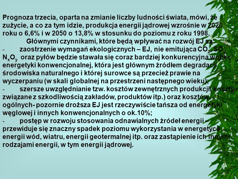 Prognoza trzecia, oparta na zmianie liczby ludności świata, mówi, że zużycie, a co za tym idzie, produkcja energii jądrowej wzrośnie w 2020 roku o 6,6% i w 2050 o 13,8% w stosunku do poziomu z roku 1998.