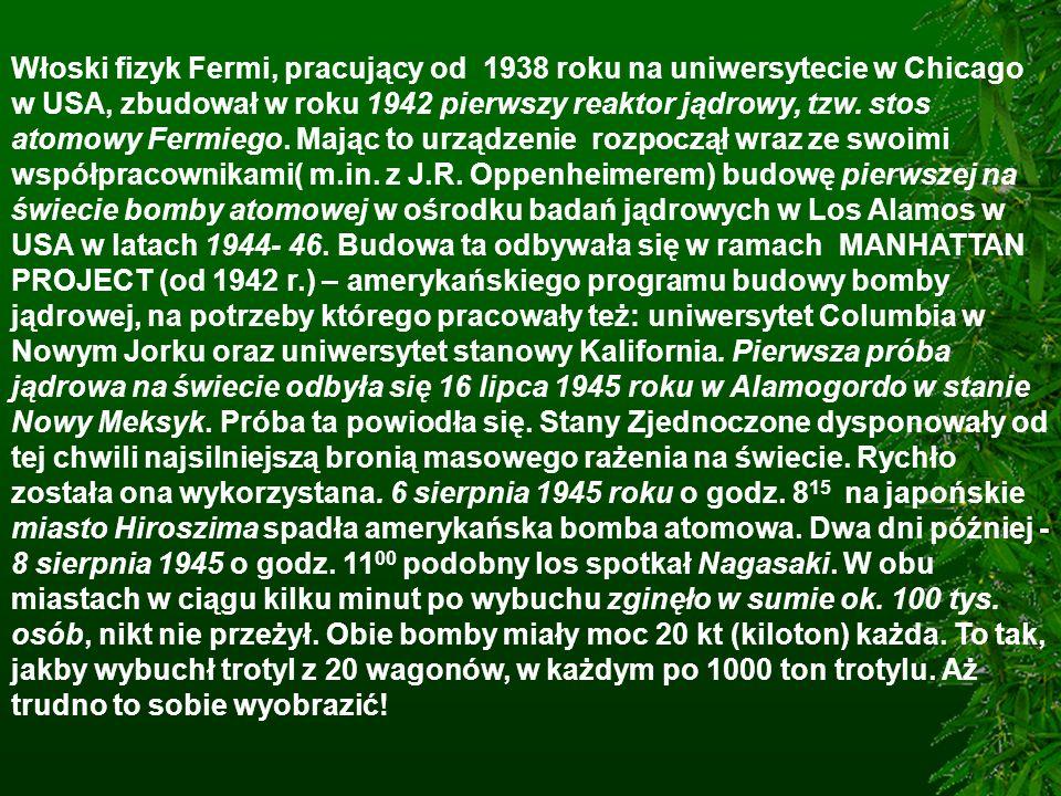 Włoski fizyk Fermi, pracujący od 1938 roku na uniwersytecie w Chicago w USA, zbudował w roku 1942 pierwszy reaktor jądrowy, tzw.
