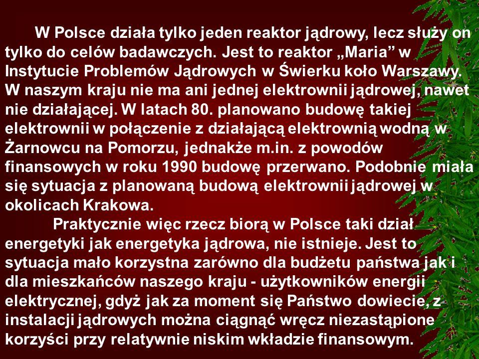 """W Polsce działa tylko jeden reaktor jądrowy, lecz służy on tylko do celów badawczych. Jest to reaktor """"Maria w Instytucie Problemów Jądrowych w Świerku koło Warszawy. W naszym kraju nie ma ani jednej elektrownii jądrowej, nawet nie działającej. W latach 80. planowano budowę takiej elektrownii w połączenie z działającą elektrownią wodną w Żarnowcu na Pomorzu, jednakże m.in. z powodów finansowych w roku 1990 budowę przerwano. Podobnie miała się sytuacja z planowaną budową elektrownii jądrowej w okolicach Krakowa."""