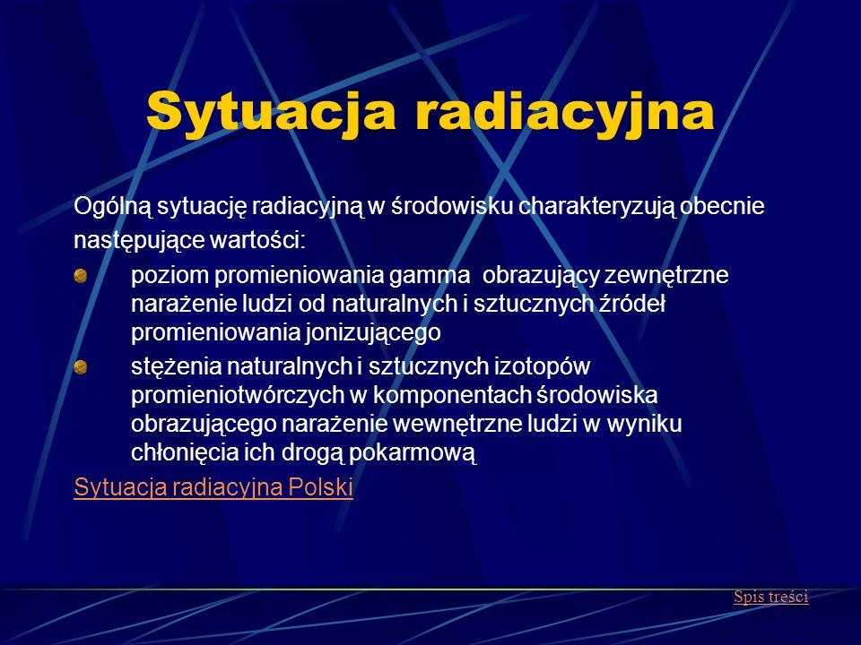 Sytuacja radiacyjna Ogólną sytuację radiacyjną w środowisku charakteryzują obecnie. następujące wartości: