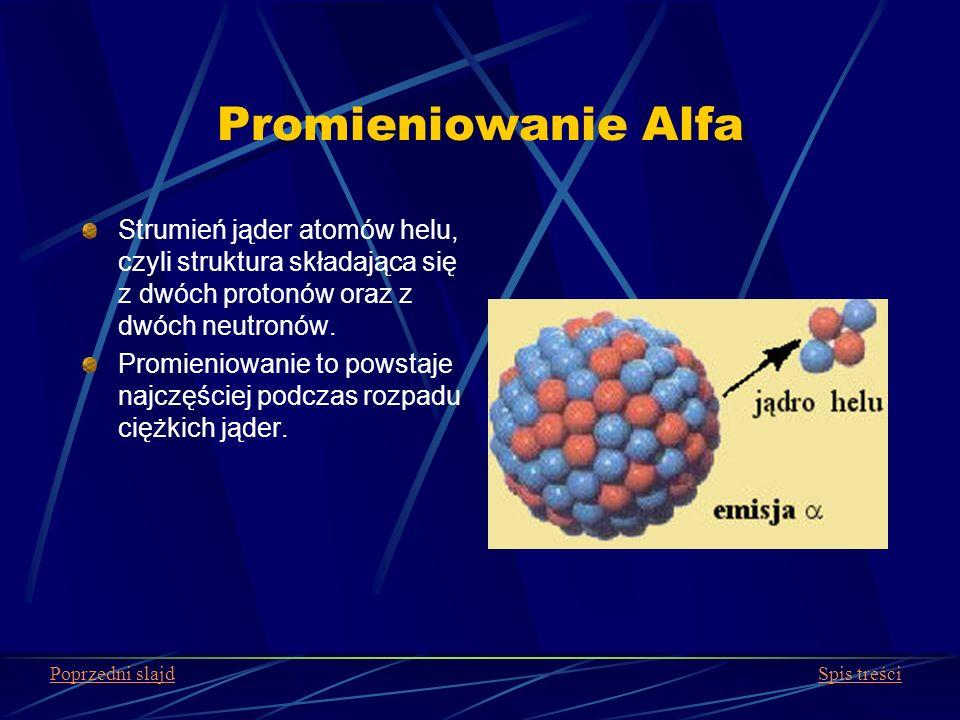 Promieniowanie Alfa Strumień jąder atomów helu, czyli struktura składająca się z dwóch protonów oraz z dwóch neutronów.