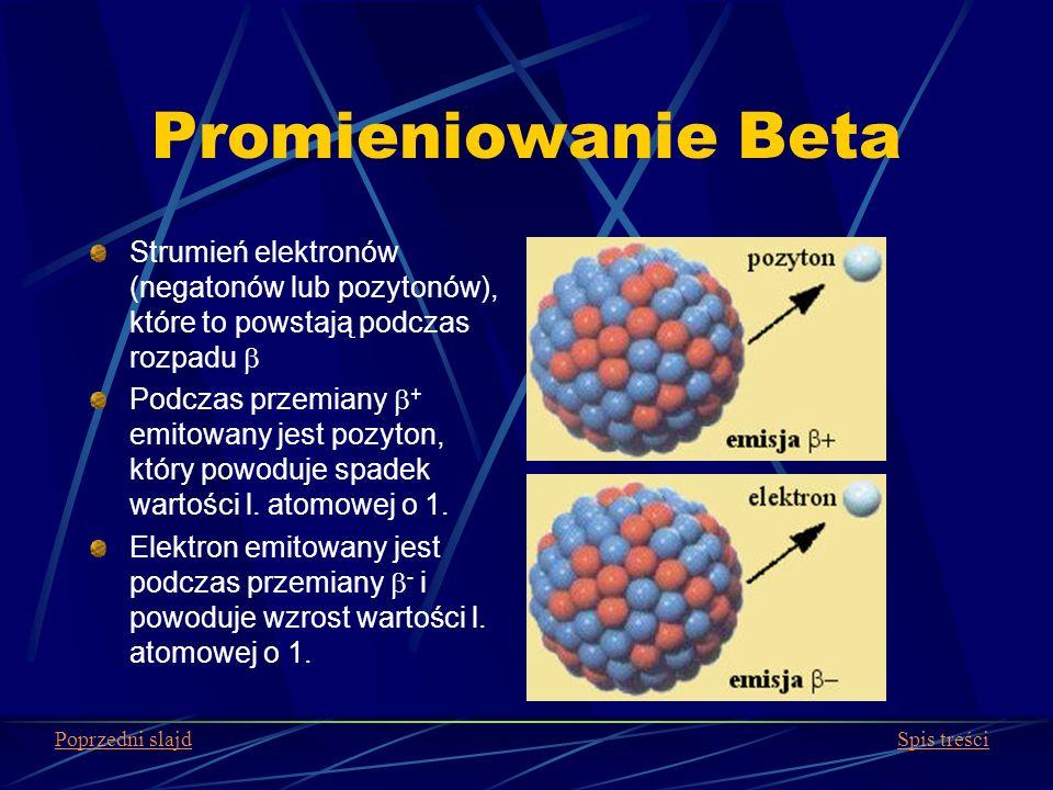 Promieniowanie Beta Strumień elektronów (negatonów lub pozytonów), które to powstają podczas rozpadu b.