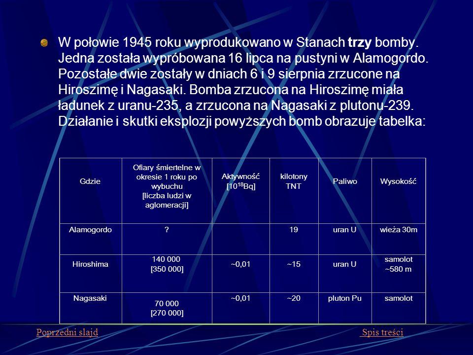 W połowie 1945 roku wyprodukowano w Stanach trzy bomby