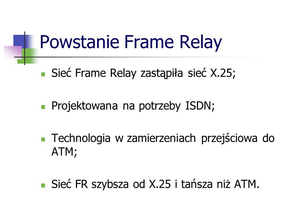 Powstanie Frame Relay Sieć Frame Relay zastąpiła sieć X.25;