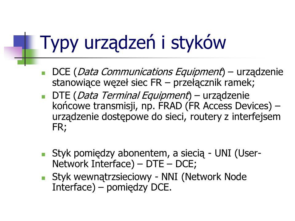 Typy urządzeń i stykówDCE (Data Communications Equipment) – urządzenie stanowiące węzeł siec FR – przełącznik ramek;