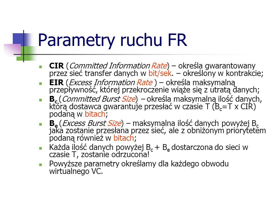 Parametry ruchu FR CIR (Committed Information Rate) – określa gwarantowany przez sieć transfer danych w bit/sek. – określony w kontrakcie;