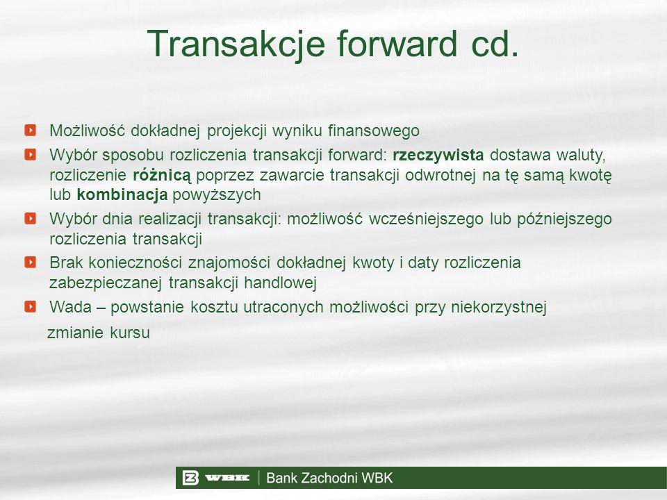 Transakcje forward cd. Możliwość dokładnej projekcji wyniku finansowego.