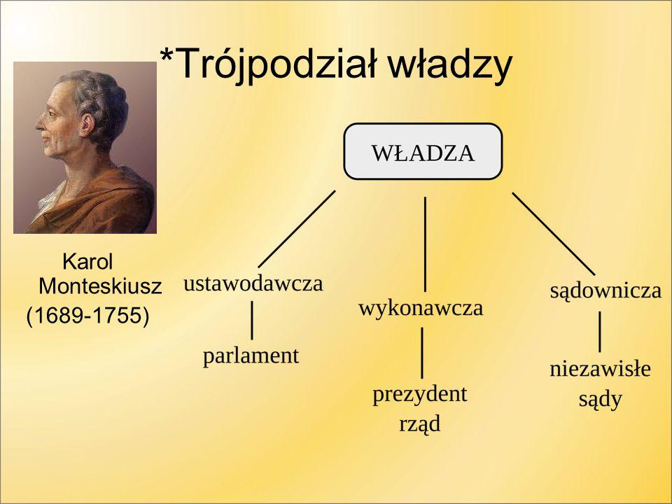 *Trójpodział władzy Karol Monteskiusz (1689-1755)