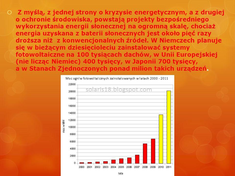 Z myślą, z jednej strony o kryzysie energetycznym, a z drugiej o ochronie środowiska, powstają projekty bezpośredniego wykorzystania energii słonecznej na ogromną skalę, chociaż energia uzyskana z baterii słonecznych jest około pięć razy droższa niż z konwencjonalnych źródeł.