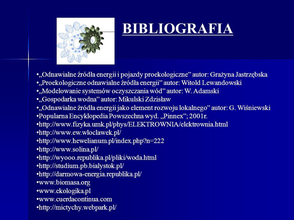 """BIBLIOGRAFIA """"Odnawialne źródła energii i pojazdy proekologiczne autor: Grażyna Jastrzębska."""