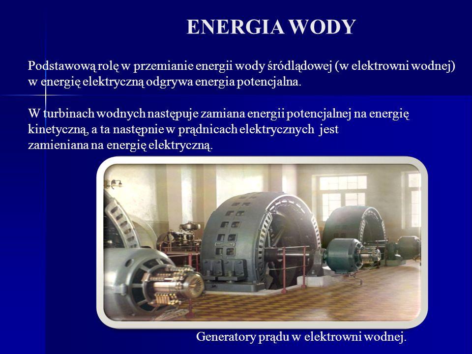 ENERGIA WODY Podstawową rolę w przemianie energii wody śródlądowej (w elektrowni wodnej) w energię elektryczną odgrywa energia potencjalna.