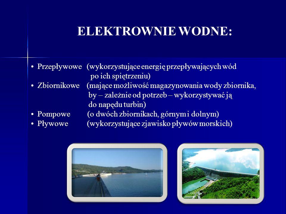 ELEKTROWNIE WODNE: Przepływowe (wykorzystujące energię przepływających wód. po ich spiętrzeniu)