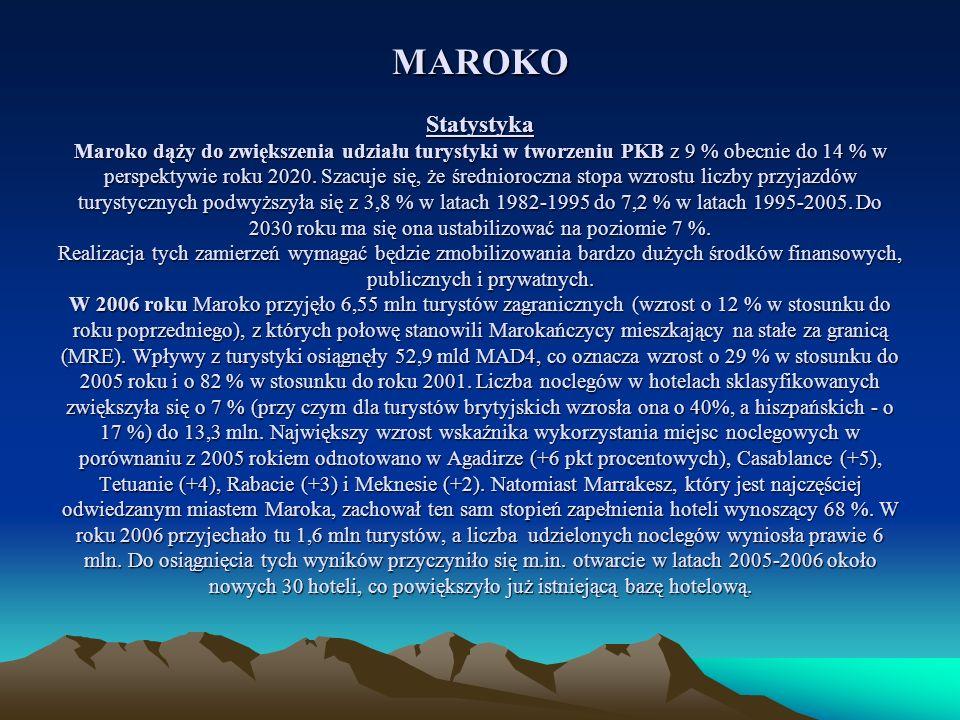 MAROKO Statystyka Maroko dąży do zwiększenia udziału turystyki w tworzeniu PKB z 9 % obecnie do 14 % w perspektywie roku 2020.