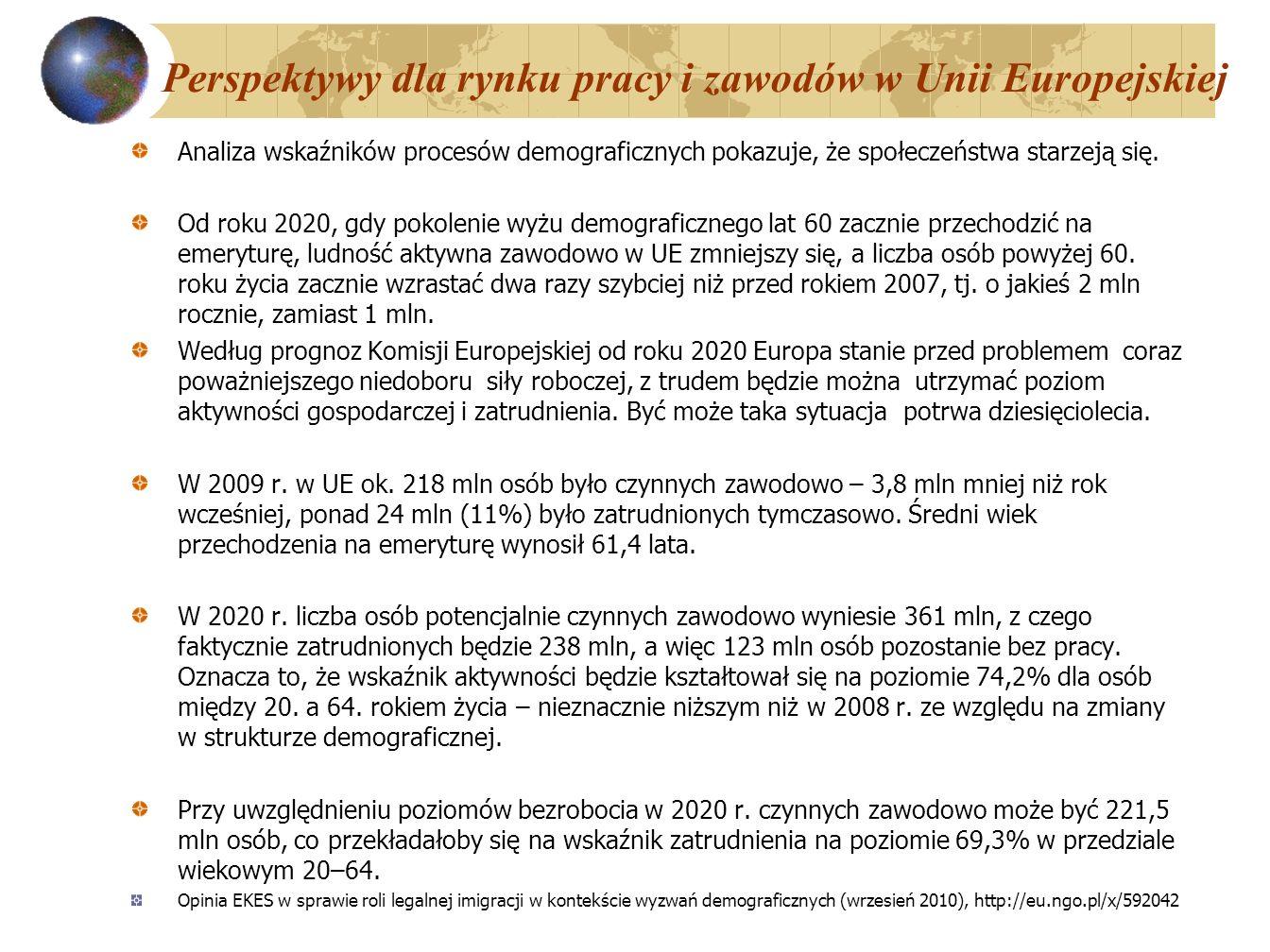 Perspektywy dla rynku pracy i zawodów w Unii Europejskiej