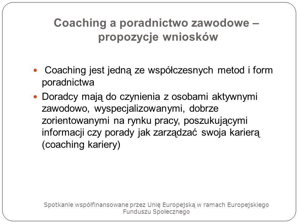 Coaching a poradnictwo zawodowe – propozycje wniosków