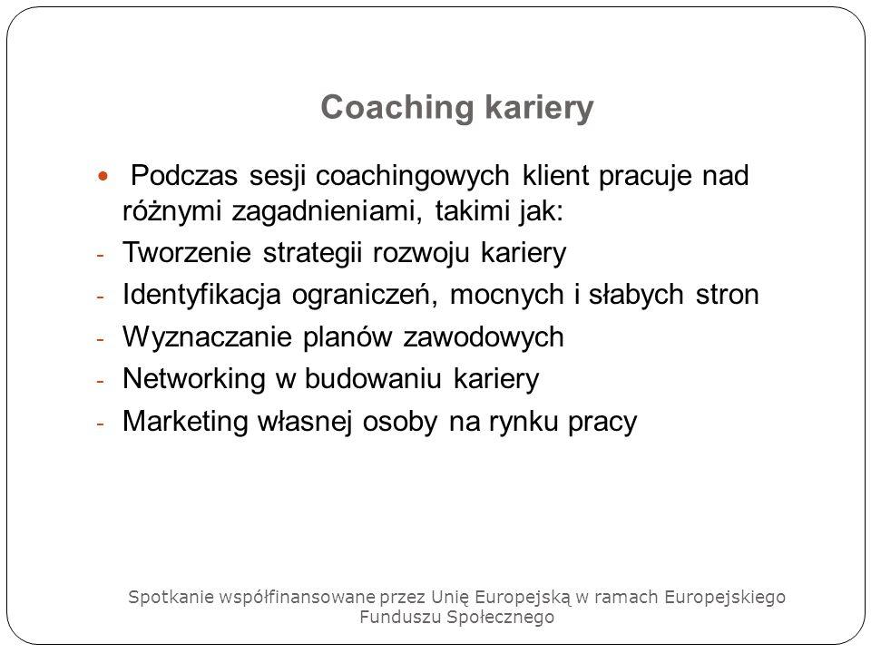 Coaching karieryPodczas sesji coachingowych klient pracuje nad różnymi zagadnieniami, takimi jak: Tworzenie strategii rozwoju kariery.
