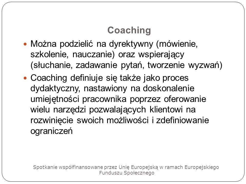 CoachingMożna podzielić na dyrektywny (mówienie, szkolenie, nauczanie) oraz wspierający (słuchanie, zadawanie pytań, tworzenie wyzwań)