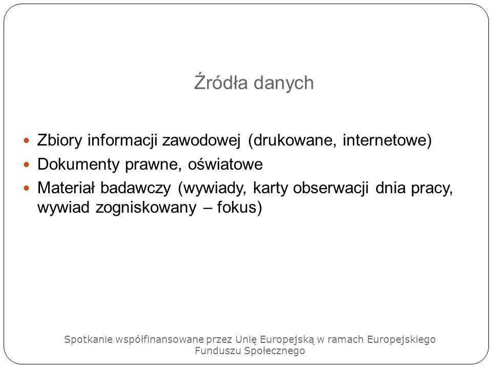 Źródła danych Zbiory informacji zawodowej (drukowane, internetowe)