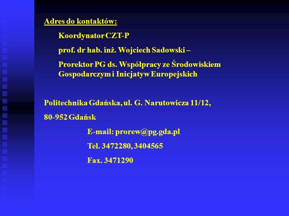Adres do kontaktów: Koordynator CZT-P. prof. dr hab. inż. Wojciech Sadowski –