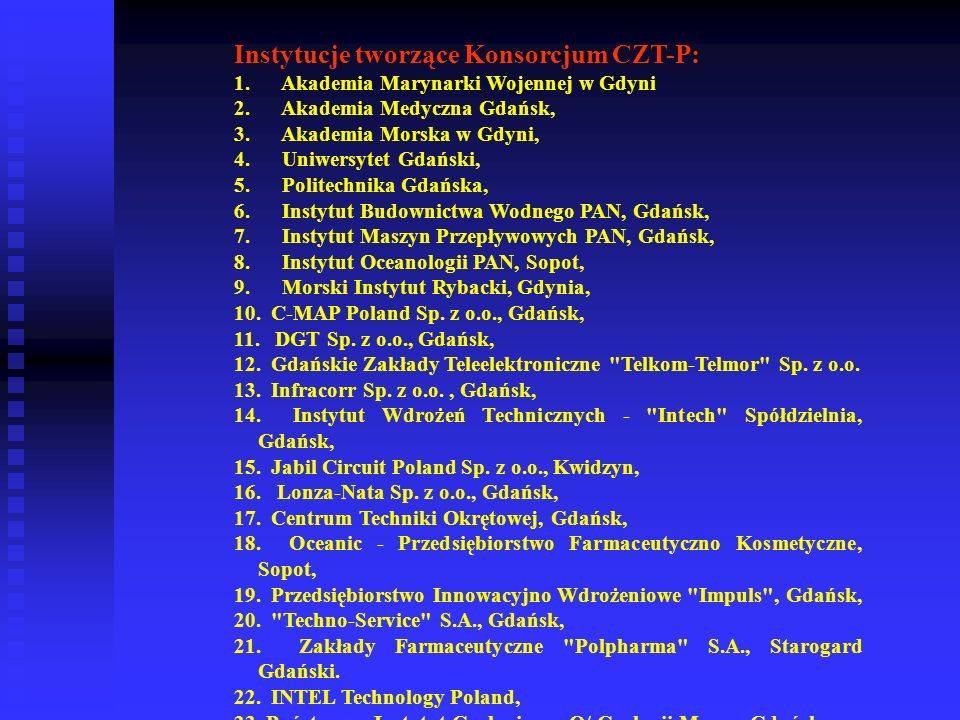 Instytucje tworzące Konsorcjum CZT-P: