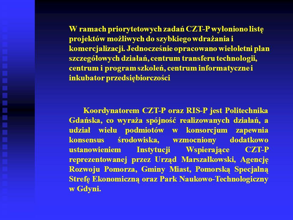 W ramach priorytetowych zadań CZT-P wyłoniono listę projektów możliwych do szybkiego wdrażania i komercjalizacji. Jednocześnie opracowano wieloletni plan szczegółowych działań, centrum transferu technologii, centrum i program szkoleń, centrum informatyczne i inkubator przedsiębiorczości