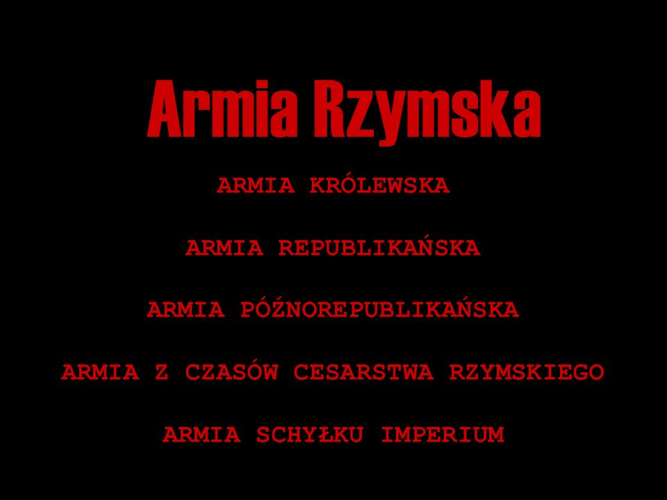 Armia Rzymska ARMIA KRÓLEWSKA ARMIA REPUBLIKAŃSKA