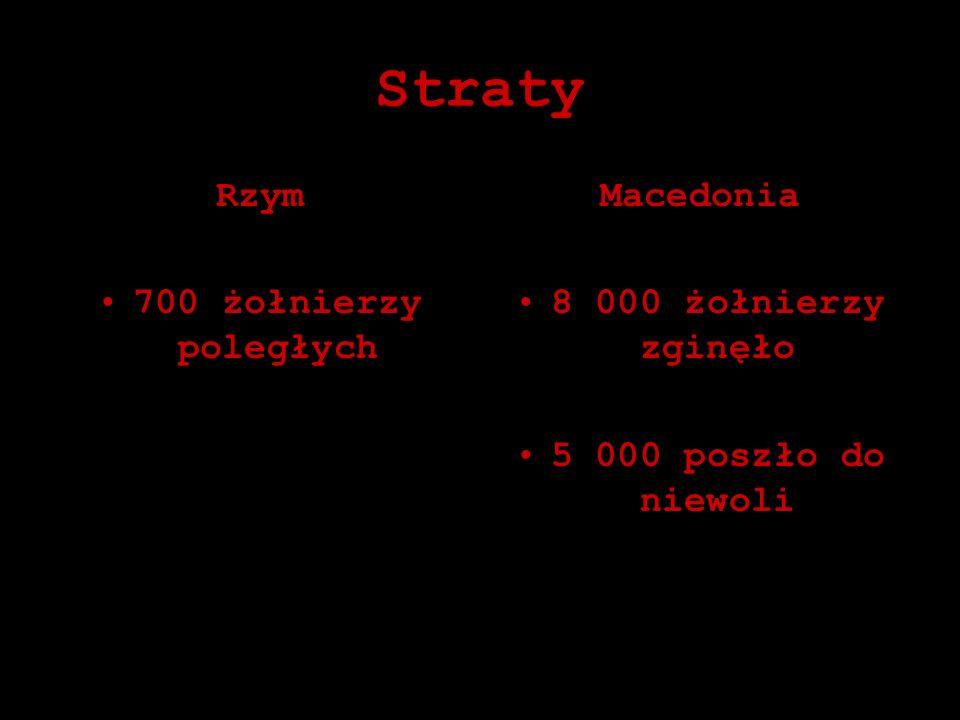 Straty Rzym 700 żołnierzy poległych Macedonia 8 000 żołnierzy zginęło