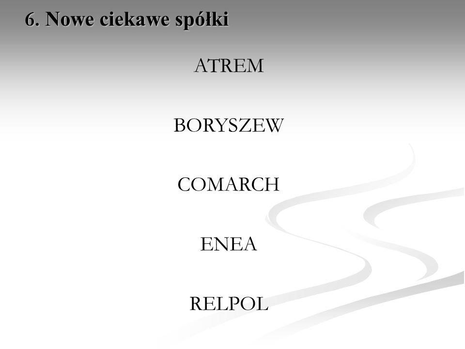 ATREM BORYSZEW COMARCH ENEA RELPOL 6. Nowe ciekawe spółki