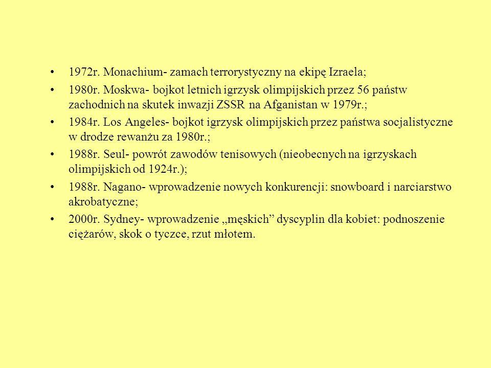 1972r. Monachium- zamach terrorystyczny na ekipę Izraela;