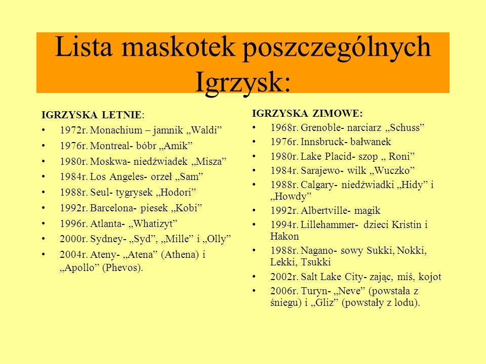 Lista maskotek poszczególnych Igrzysk: