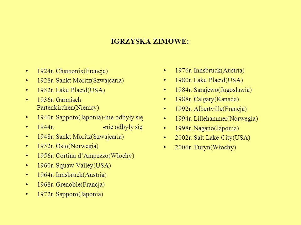 IGRZYSKA ZIMOWE: 1976r. Innsbruck(Austria) 1980r. Lake Placid(USA)