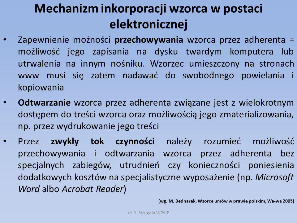 Mechanizm inkorporacji wzorca w postaci elektronicznej