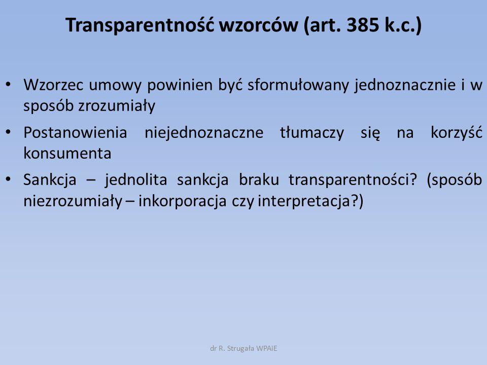 Transparentność wzorców (art. 385 k.c.)