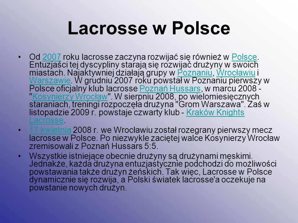 Lacrosse w Polsce