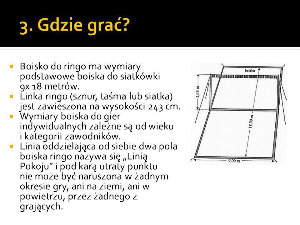 3. Gdzie grać Boisko do ringo ma wymiary podstawowe boiska do siatkówki 9x 18 metrów.